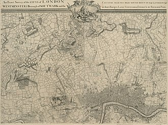 John Rocque's Map of London, 1746 - Image: An Exact Survey of the citys of London Westminster ye Borough of Southwark and the Country near ten miles round (2 of 6)