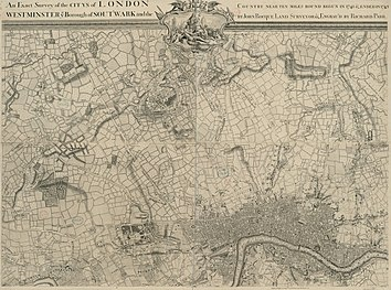 An Exact Survey of the citys of London Westminster ye Borough of Southwark and the Country near ten miles round (2 of 6).jpg