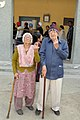 An elderly couple voters showing mark of indelible ink after casting their votes, at a polling booth, during the Delhi Assembly Election, in New Delhi on February 07, 2015.jpg