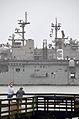 An onlooker waves as the amphibious assault ship USS Kearsarge (LHD 3) returns to Naval Station Norfolk, Va., Nov. 7, 2013, after completing an eight-month deployment 131107-N-YC845-001.jpg