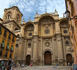 Granada Cathedral - Facade with bell tower.