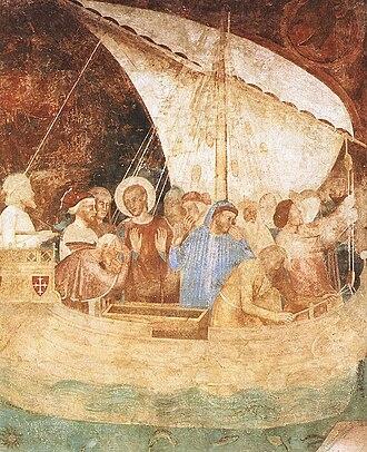 Rainerius - Scene from the life of Saint Rainerius. Detail from a fresco of Andrea di Bonaiuto da Firenze in the Campo Santo.