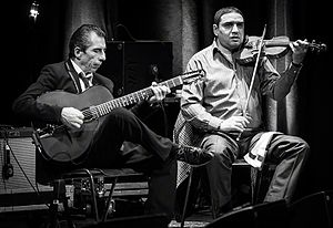 2016 in jazz - Angelo Debarre Quartet performs at Cosmopolite venue in Oslo, Norway  during the Django festival 2016.