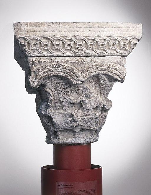 Anonyme toulousain - Chapiteau de colonne simple La Résurrection. Les Saintes femmes au tombeau - Musée des Augustins - ME 137 (2)