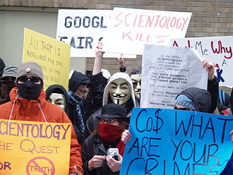 Timeline of events associated with Anonymous - Protest by Anonymous against the practices and tax status of the Church of Scientology.
