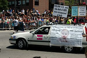 Circumcision controversies - A lobby against routine infant circumcision on Chicago's Pride Parade