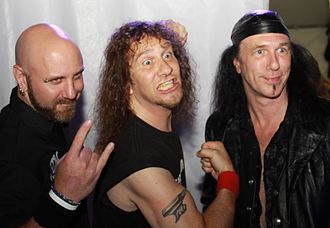 "Anvil (band) - At the Independent Spirit Awards in Los Angeles on March 5, 2010. l-r former bassist Glenn Five, Steve ""Lips"" Kudlow, Robb Reiner"