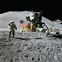 Apollo 15 flag, rover, LM, Irwin.jpg