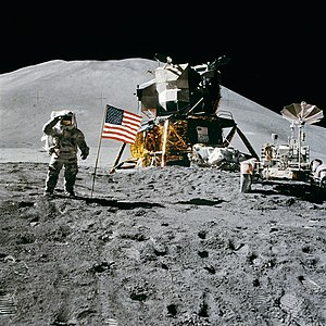 Apollo 15 - James Irwin salutes the United States flag on the Moon on August 1, 1971