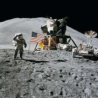 Apollo 15 - Jim Irwin salutes the United States flag on the Moon, August 1, 1971