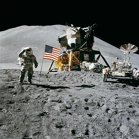 Pilot James Irwin during the Apollo 15 moon landing