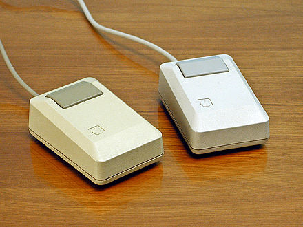 Apple Macintosh Plus mice: beige mouse (left), platinum mouse (right), 1986 Apple Macintosh Plus mouse.jpg