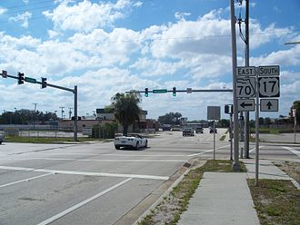 U.S. Route 17 in Florida - Intersection of US 17 and SR 70 in Arcadia