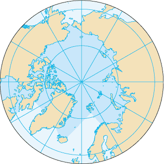 North Pole - An azimuthal projection showing the Arctic Ocean and the North Pole. The map also shows the 75th parallel north and 60th parallel north.