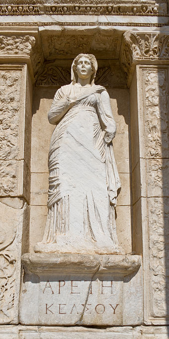 Personification of virtue (Greek Ἀρετή) in Celsus Library in Ephesos, Turkey