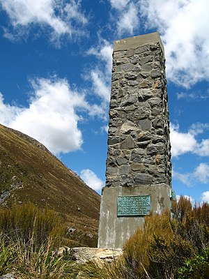Arthur's Pass (mountain pass) - Arthur Dudley Dobson memorial