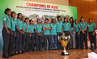 Bangladesh women's national cricket team - Asia Cup 2018 winner team with trophy