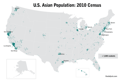 Demographics Of Asian Americans Wikipedia - Us population distribution map by state