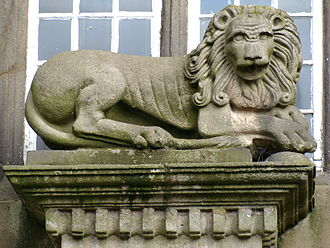 Astley Hall, Chorley - One of a pair of stone lions flanking the entrance.