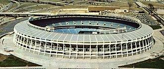 Atlanta–Fulton County Stadium - Image: Atlanta–Fulton County Stadium Postcard (1960s 70s) (Stadium crop)