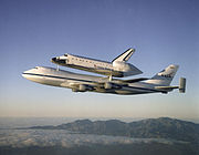 Space Shuttle Atlantis transported by a Boeing 747 Shuttle Carrier Aircraft (SCA), 1998 (NASA).