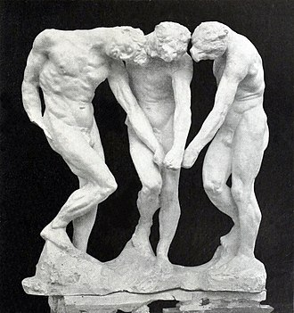 """Cubist sculpture - Auguste Rodin, before 1886, The three shades, plaster, 97 x 91.3 x 54.3 cm. In Dante's Divine Comedy, the shades, i.e. the souls of the damned, stand at the entrance to Hell, pointing to an unequivocal inscription, """"Abandon hope, all ye who enter here"""". Rodin assembled three identical figures that seem to be turning around the same point."""