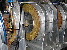 RF cavities in the linac of the Australian Synchrotron are used to accelerate and bunch beams of electrons; the linac is the tube passing through the middle of the cavity. Aust.-Synchrotron,-RF-Cavities-of-Linac-(Bunchers),-14.06.2007.jpg