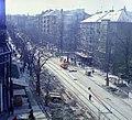 Böszörményi út az Ugocsa utcától a Kerületi Önkormányzat (Tanács) épülete felé nézve, jobbra a Hollósy Simon utca torkolata. Fortepan 99454.jpg