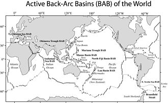 Back-arc basin - The active back-arc basins of the world