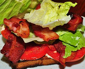 BLT - A close-up view of a BLT sandwich