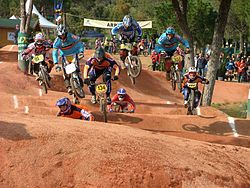 A BMX race. First round of the 2005 European BMX Championships held in Sainte Maxime, France on 23 April 2005.