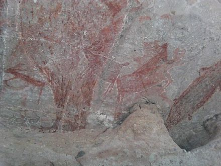 Cave art painting occurred about 7,500 years old in Baja California Peninsula. Culturally and geographically very distinct from Mesoamerica, indigenous peoples inhabited the region since the end of the Pleistocene. Baja California Sur.jpg