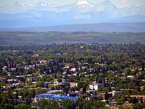 Bankview, Calgary - Neighbourhood of Bankview, with Rocky Mountains in the background