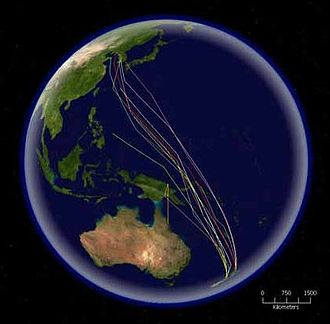 Bar-tailed godwit - Routes of satellite tagged bar-tailed godwits migrating north from New Zealand to Korea and China