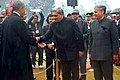Barack Obama being received by the Union Minister for Defence, Shri Manohar Parrikar, on his arrival at the 66th Republic Day celebrations, in New Delhi. The Minister of State for Planning (Independent Charge) and Defence.jpg