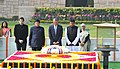 Barack Obama paying homage at the Samadhi of Mahatma Gandhi, at Rajghat, in Delhi on January 25, 2015. The Minister of State (Independent Charge) for Power, Coal and New and Renewable Energy, Shri Piyush Goyal is also seen.jpg