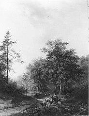 Boeren met rundvee bij een water aan de ingang van een bos