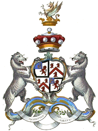 Baron Bingley - Arms of the 2nd creation Arms: Quarterly, 1st and 4th: Argent a Lion rampant within a Bordure Sable on a Canton Azure a Crown Or (Lane); 2nd and 3rd: Argent a Chevron between three Foxes' Heads erased Gules (Fox). Crest: Out of a Ducal Coronet Or a Demi Griffin segreant Sable winged Argent. Supporters: On either side a Bear Argent.