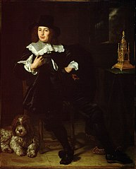 Portrait of a man, possibly Joan Hulft (1610-1677), with a dog, seated at a table with a clock