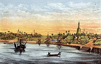 Pathein - An artist's rendition of the Bassein shoreline in the late 1800s.