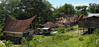 English: Batak village on Samosir island, Lake...