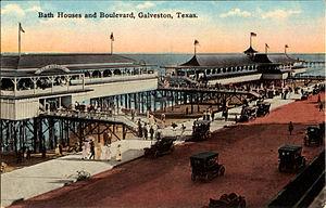 Seawall Boulevard - Image: Bath Houses and Boulevard, Galveston, Texas