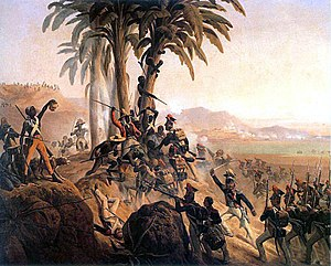 The Kingdom of This World - Battle on Santo Domingo, a painting by January Suchodolski depicting a struggle between Polish troops in French service and the Haitian rebels