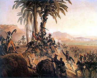 Haiti - Battle between Polish troops in French service and the Haitian rebels