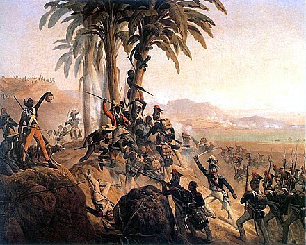 Battle between Polish troops in French service and the Haitian rebels. The majority of Polish soldiers eventually deserted the French army and fought alongside the Haitians. Battle for Palm Tree Hill.jpg