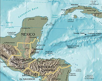 Gulf of Honduras - The Gulf of Honduras is shown in the center of this map
