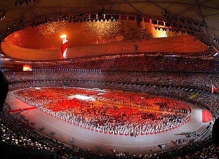 A scene from the opening ceremonies of the 2008 Summer Olympic Games. Beijing Olympics 2008.jpg