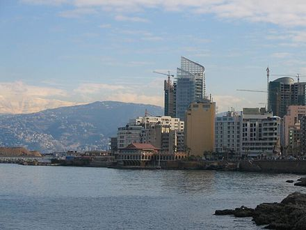 View of the Saint George Bay, and snow-capped Mount Sannine from the Corniche, Beirut Beirut-Sannine.jpg