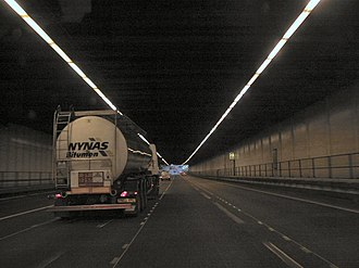 M25 motorway - Inside the Bell Common Tunnel near Epping