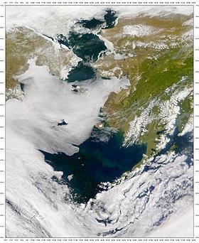 Vista de satélite del mar de bering